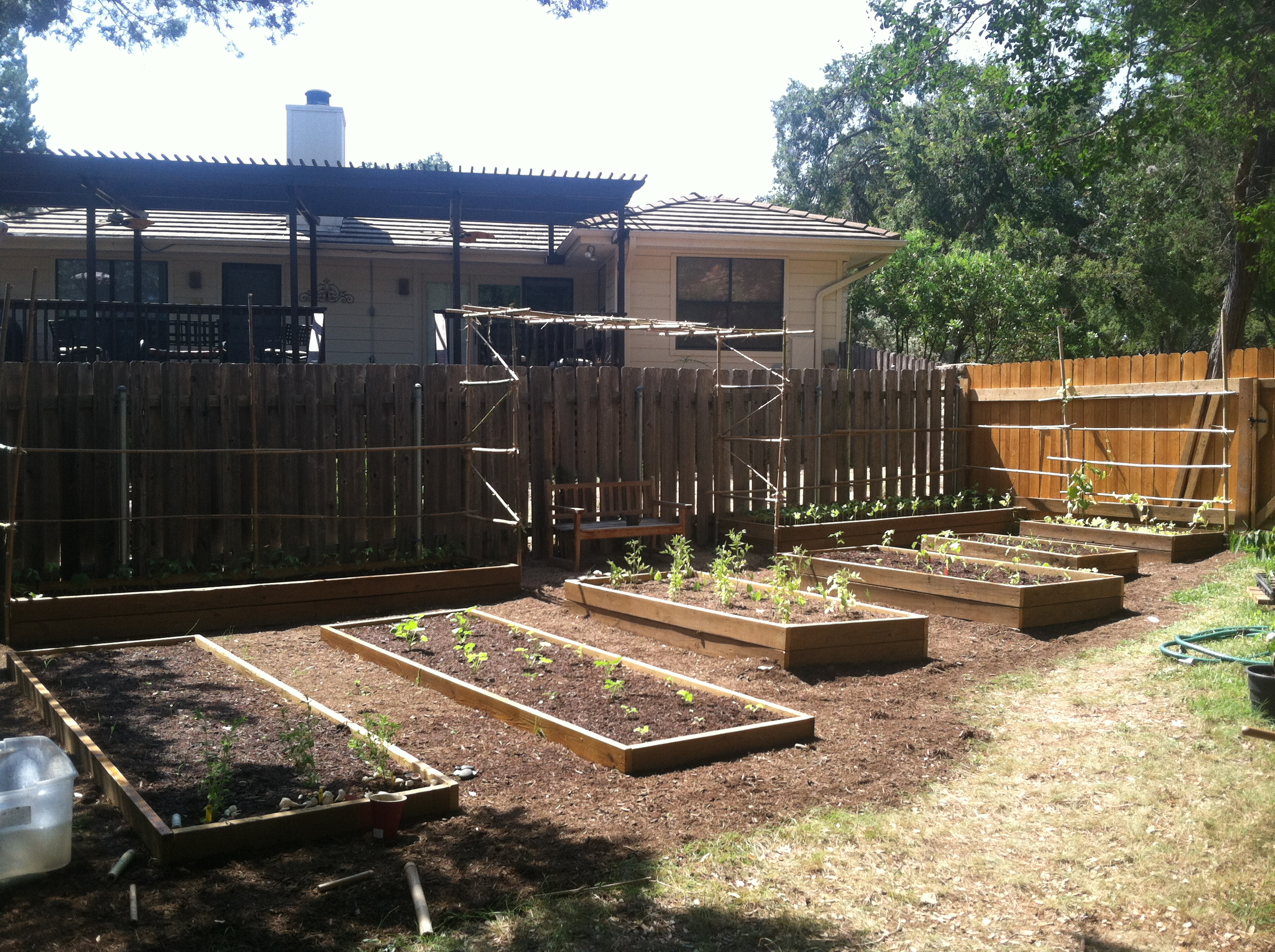 The garden beds and fence to the right were built from reclaimed lumber. The trellises were built from bamboo that needed to be cleared anyway so they were saved from the waste stream and up cycled to a useful purpose.